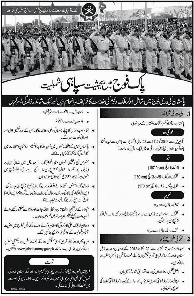 Join Pakistan Army 2013 as Soldier