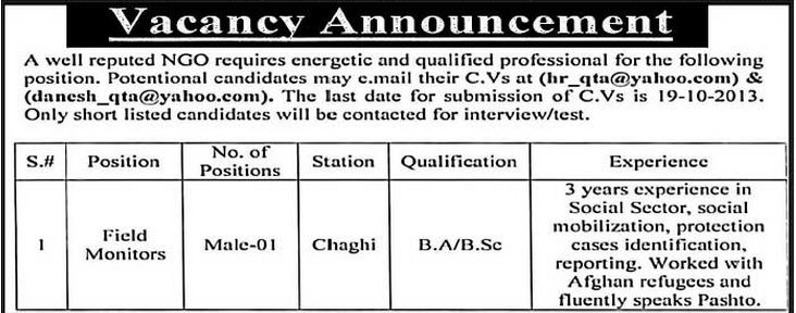NGO Jobs for Field Monitors in Quetta