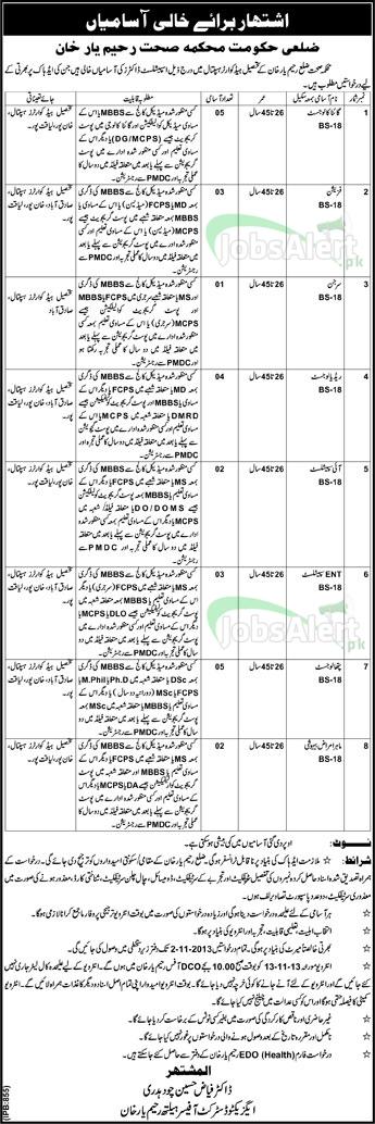 Physician & Surgeon Jobs In Health Department Govt of Rahim Yar Khan