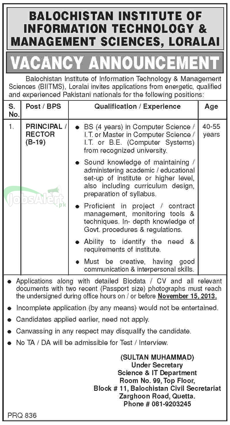 Principal Jobs in Balochistan Institute of Information Technology