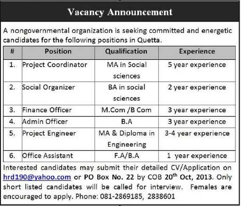 Project Coordinator & Finance officer Jobs in NGO, Quetta