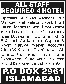 Supervisor, Manager & Accountant Jobs in Hotel Islamabad