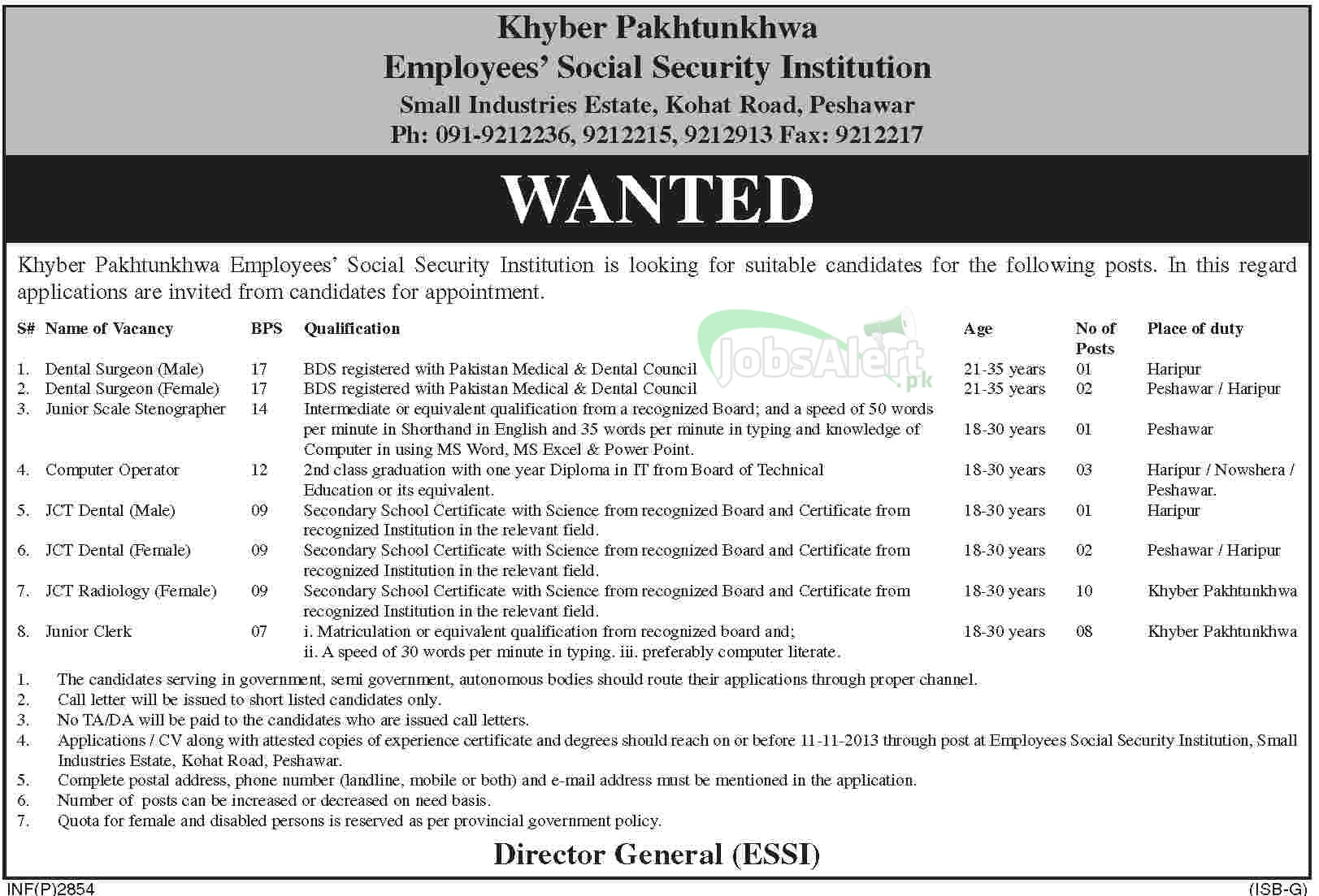 Surgeon, Stenographer & JCT Jobs in KPK Employees Social Security
