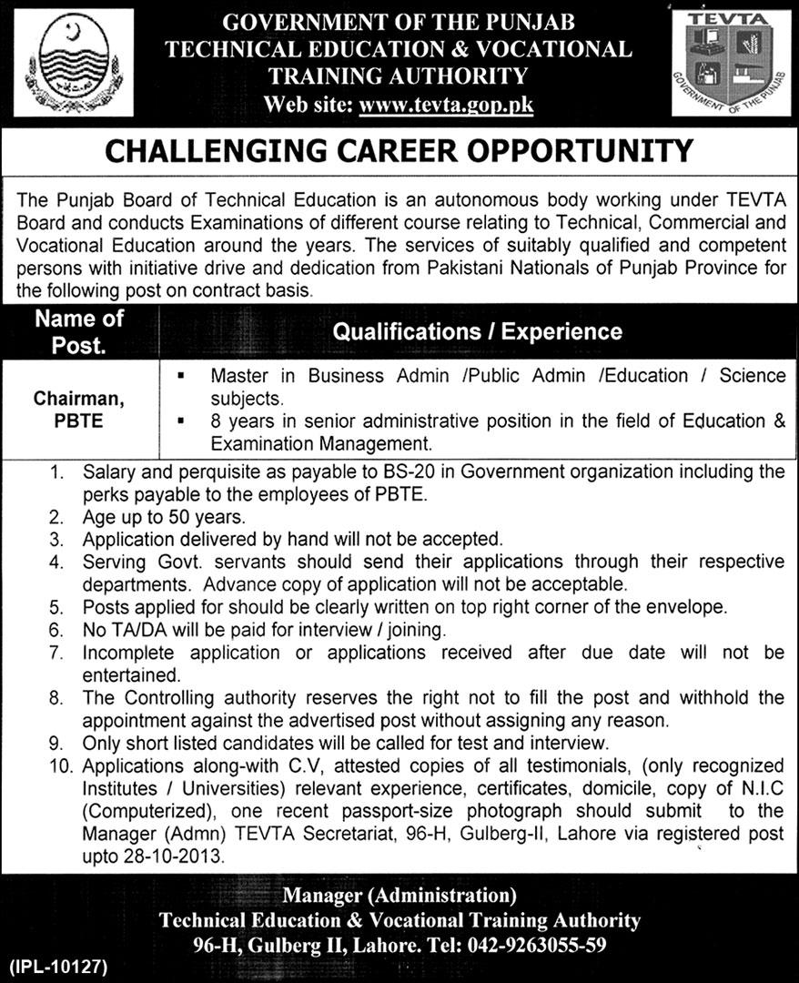 TEVTA Lahore Jobs for Chairman PBTE