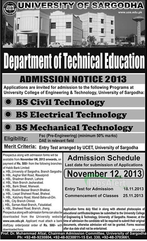 University of Sargodha BS Civil & Electrical Technology Admissions 2013