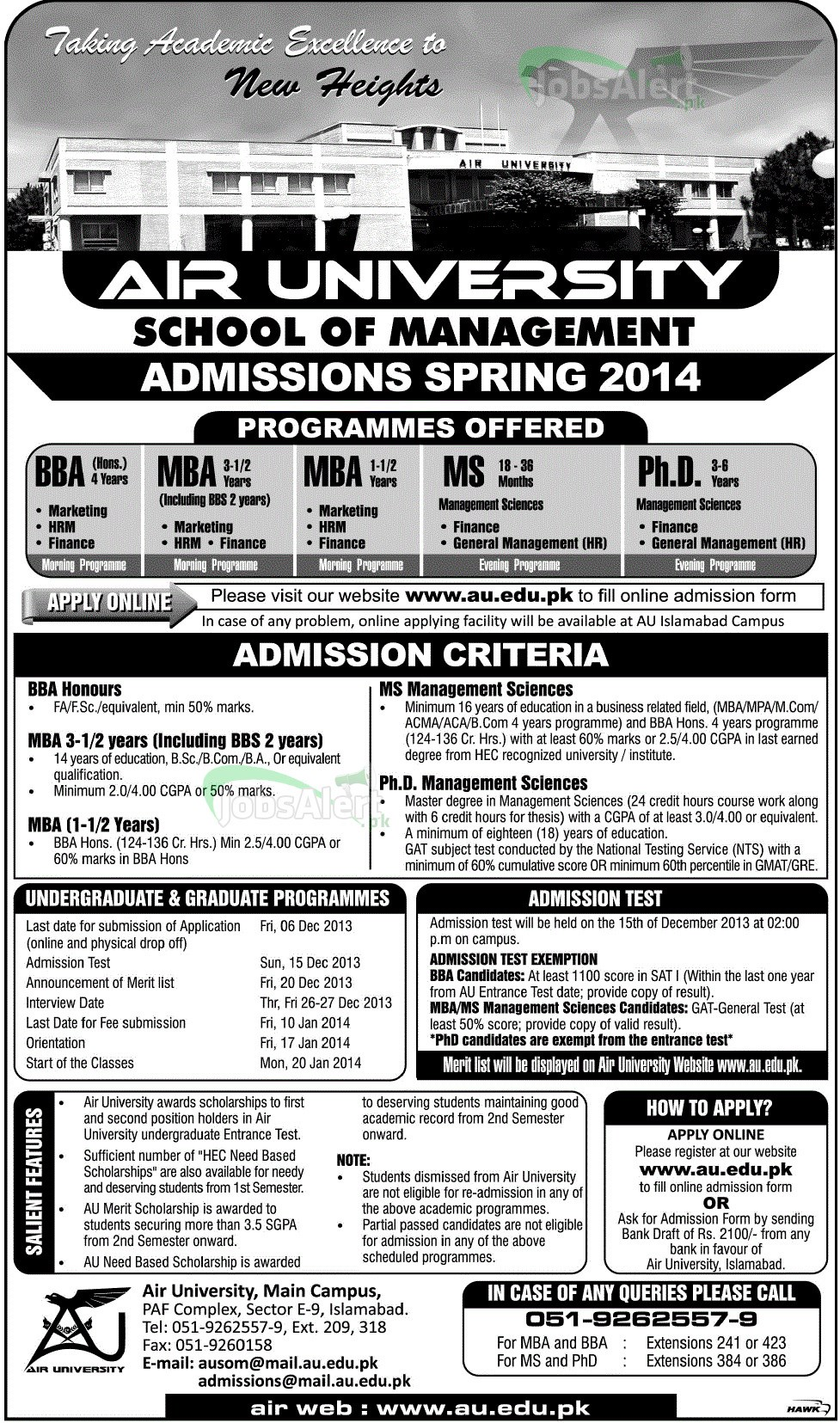 Air University Admissions 2014 in BBA, MBA, MS, PhD
