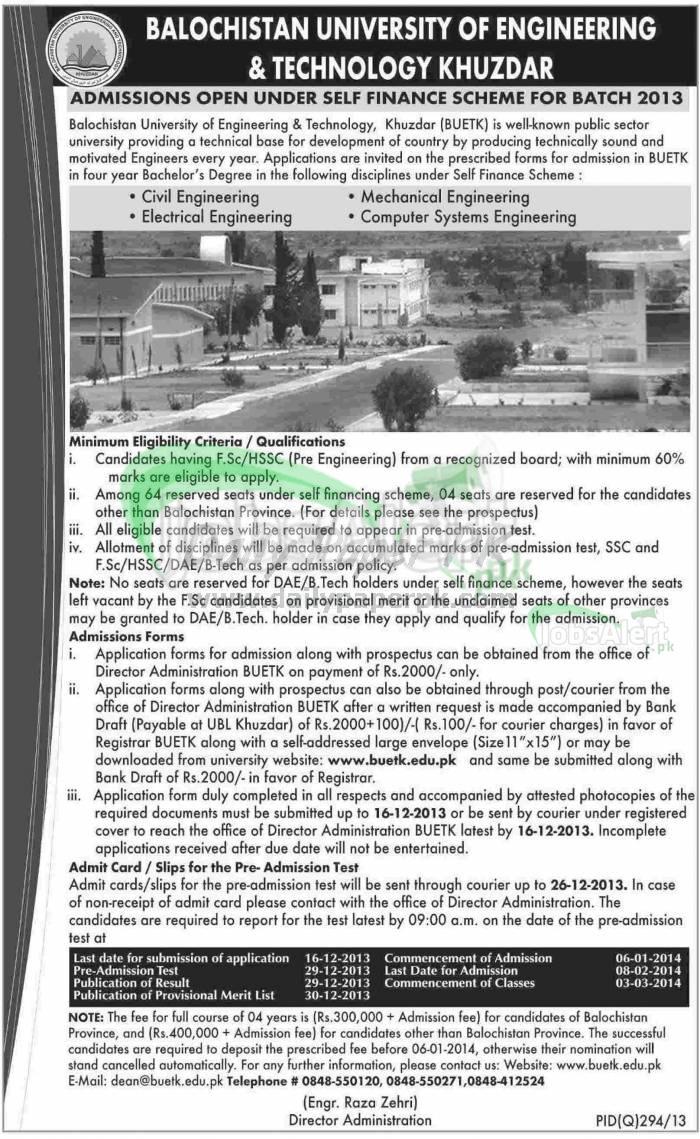 Baluchistan University Khuzdar Civil & Mechanical Engineering Admissions