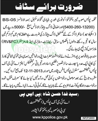 Constable Jobs in Police Department Government of KPK Peshawar