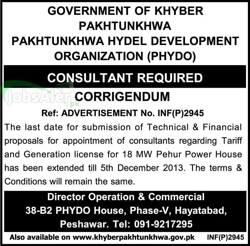 Consultant Jobs in Pakhtunkhwa Hydel Development Govt of KPK