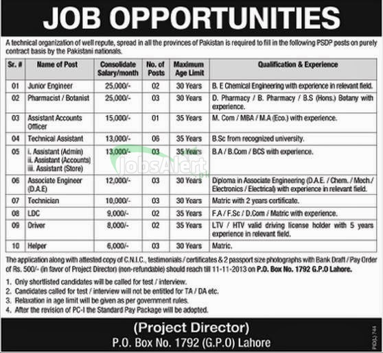 Engineer & Technical Assistant Jobs in Technical Organization Lahore