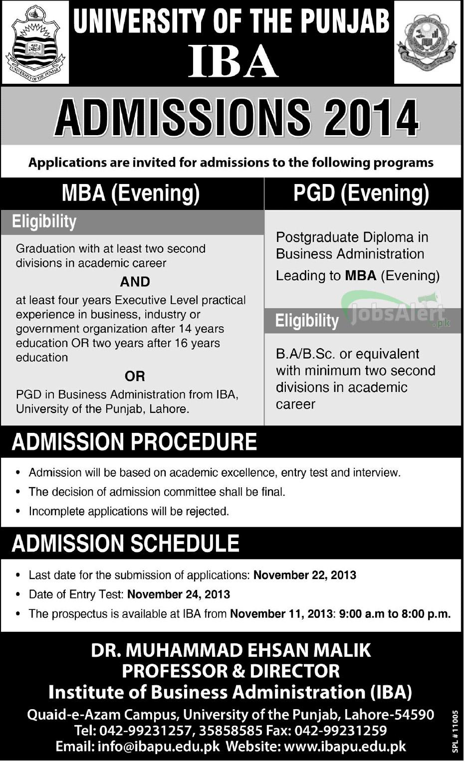 IBA University Of The Punjab MBA Admissions 2014