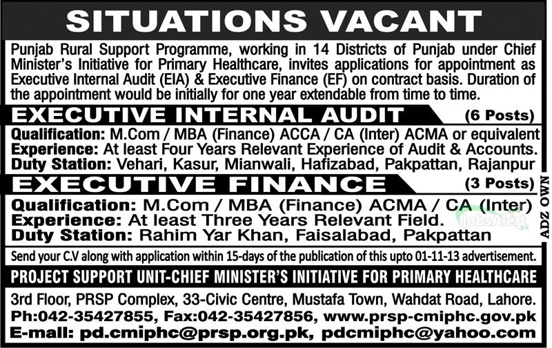 Internal Audit & Executive Finance Jobs in Punjab Rural Programme Lahore
