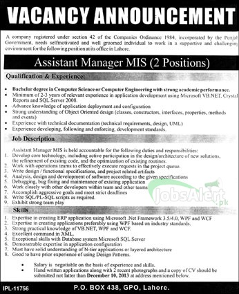 Jobs for Assistant Manager MIS Required in Lahore