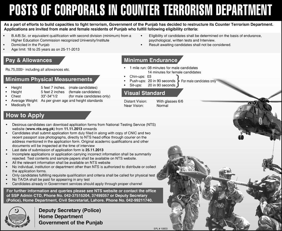 Jobs for Corporials in Counter Terrorism Department Lahore