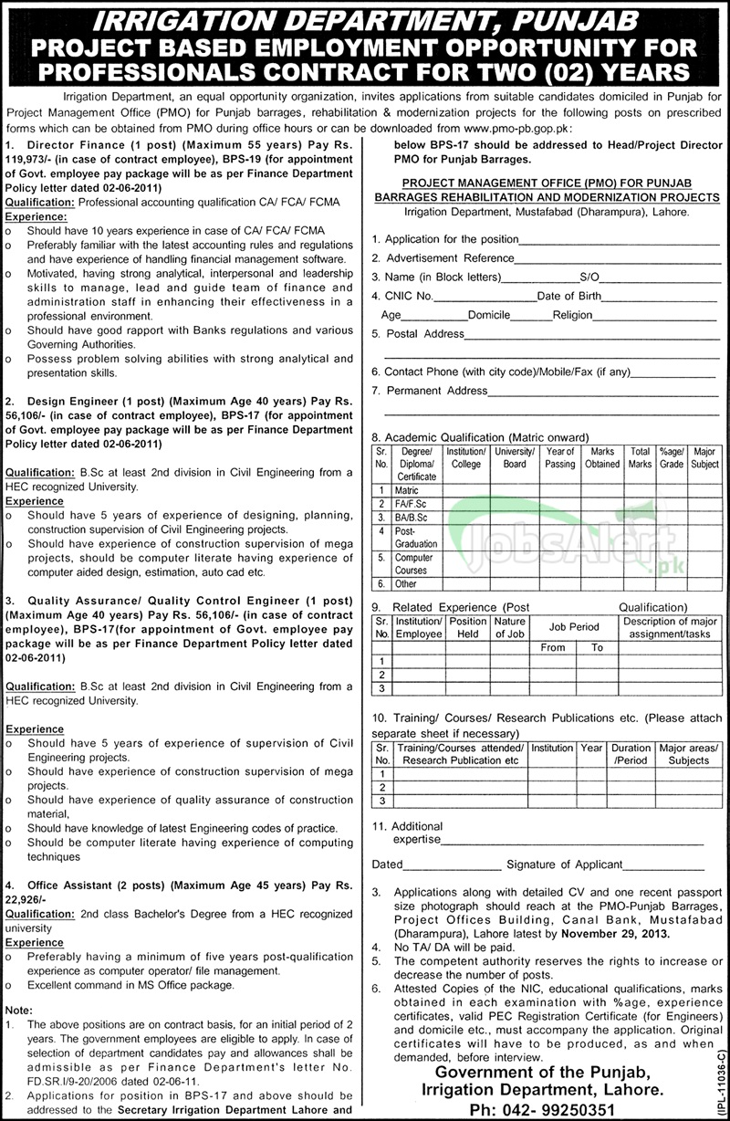 Jobs for Director Finance & Disign Engineer in Irrigation Department Punjab