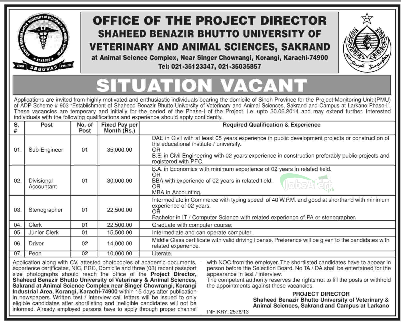 Jobs in Shaheed Benazir Bhutto University of Veterinary and Animal Sciences