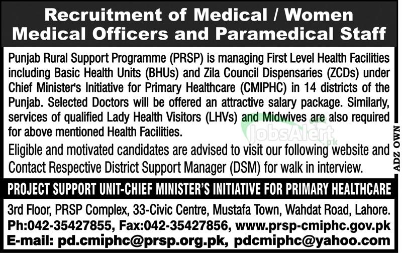 Medical Officer Jobs in Punjab Rural Support Programme Lahore