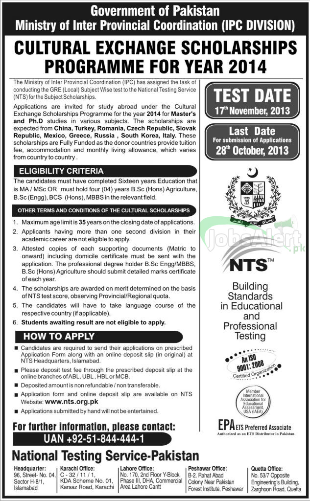 NTS Cultural Exchange Scholarships Program 2014 for Masters