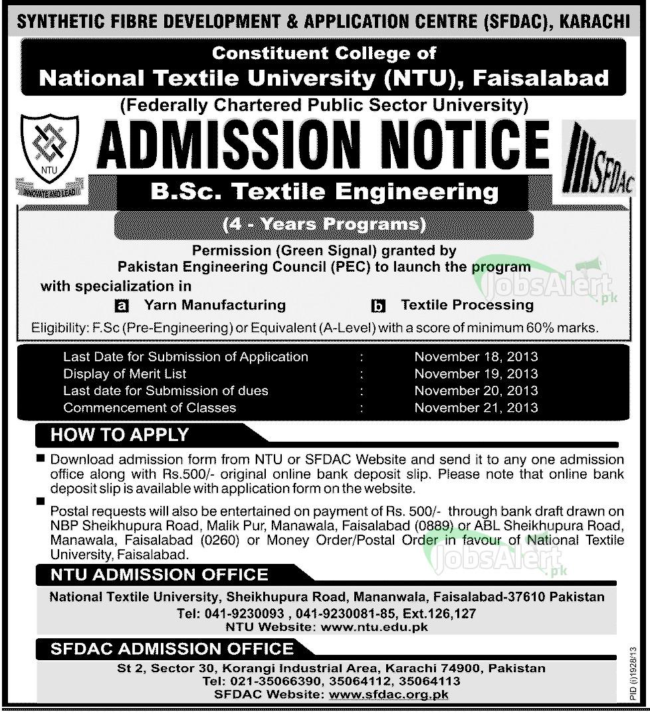 NTU - National Textile University Faisalabad Admission 2013