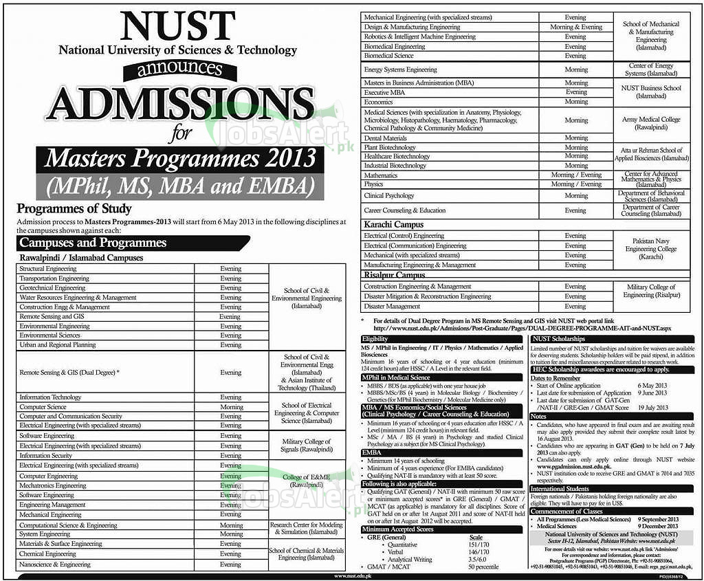NUST Admissions 2013-2014 Master, MPhil, MS, MBA, EMBA Prog