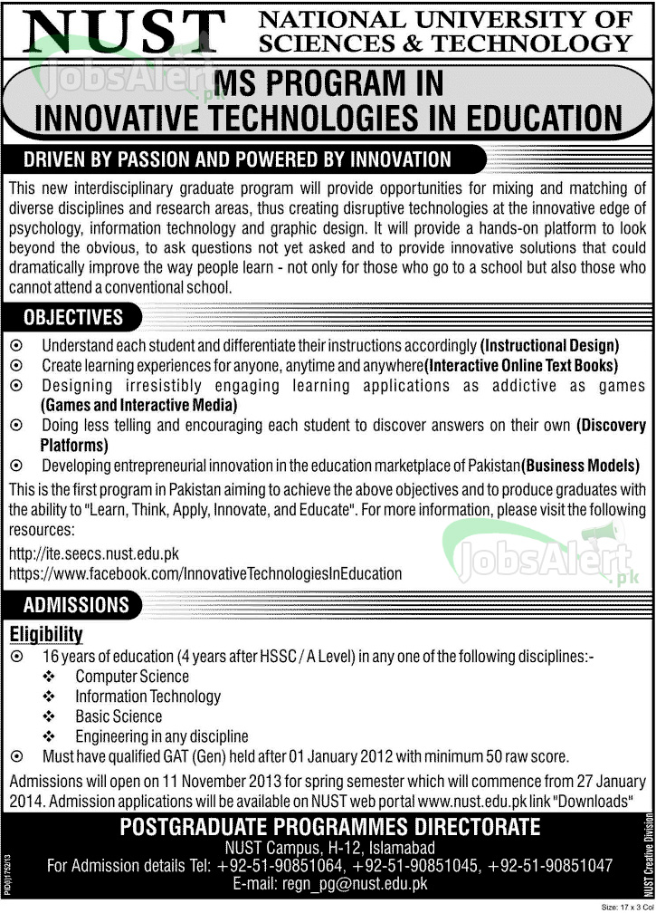NUST Admissions 2014, MS Program in Innovative Technologies