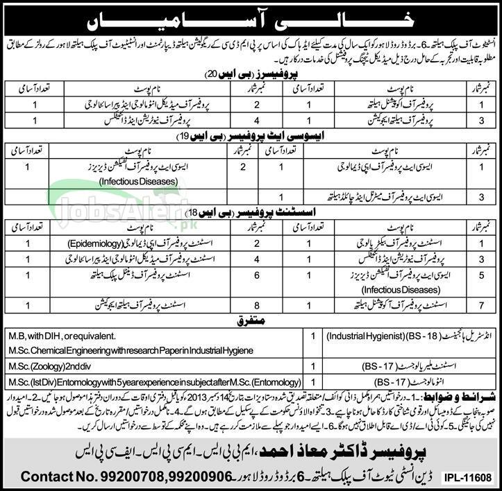 Professor Jobs in Institute of Public Health Lahore