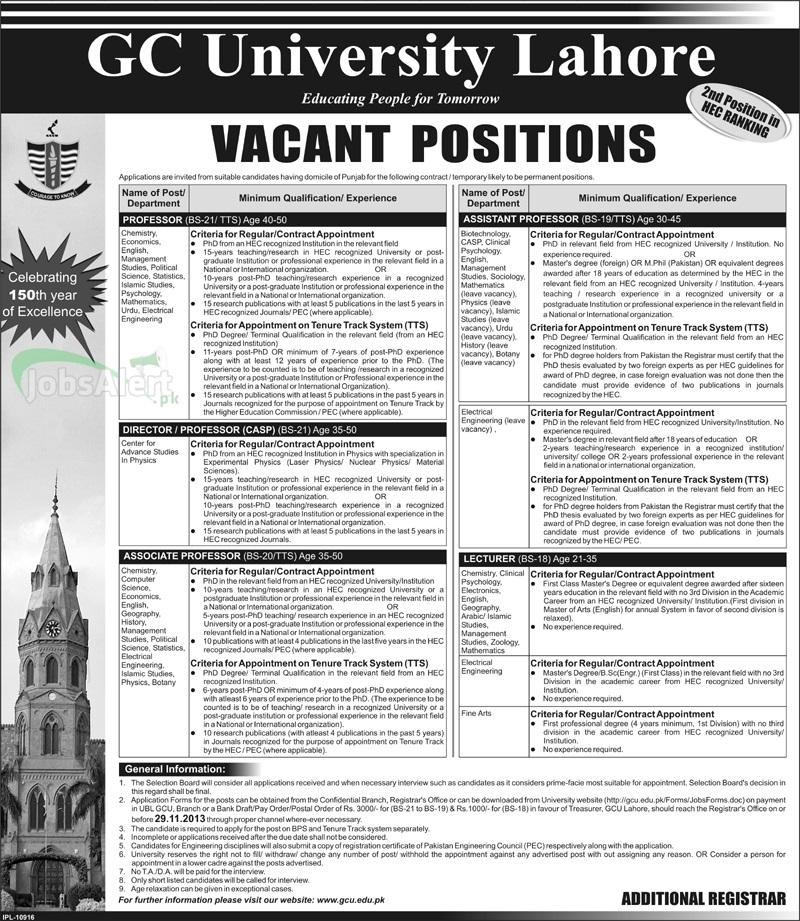 Professor & Lecturer Jobs in GC University Lahore