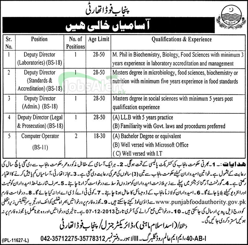 Punjab Food Authority Lahore Jobs for Computer Operator