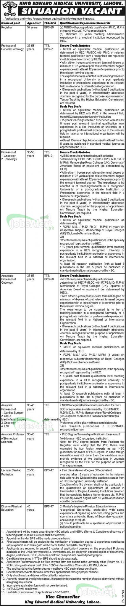 Registrar & Professor Jobs in King Edward Medical University Lahore