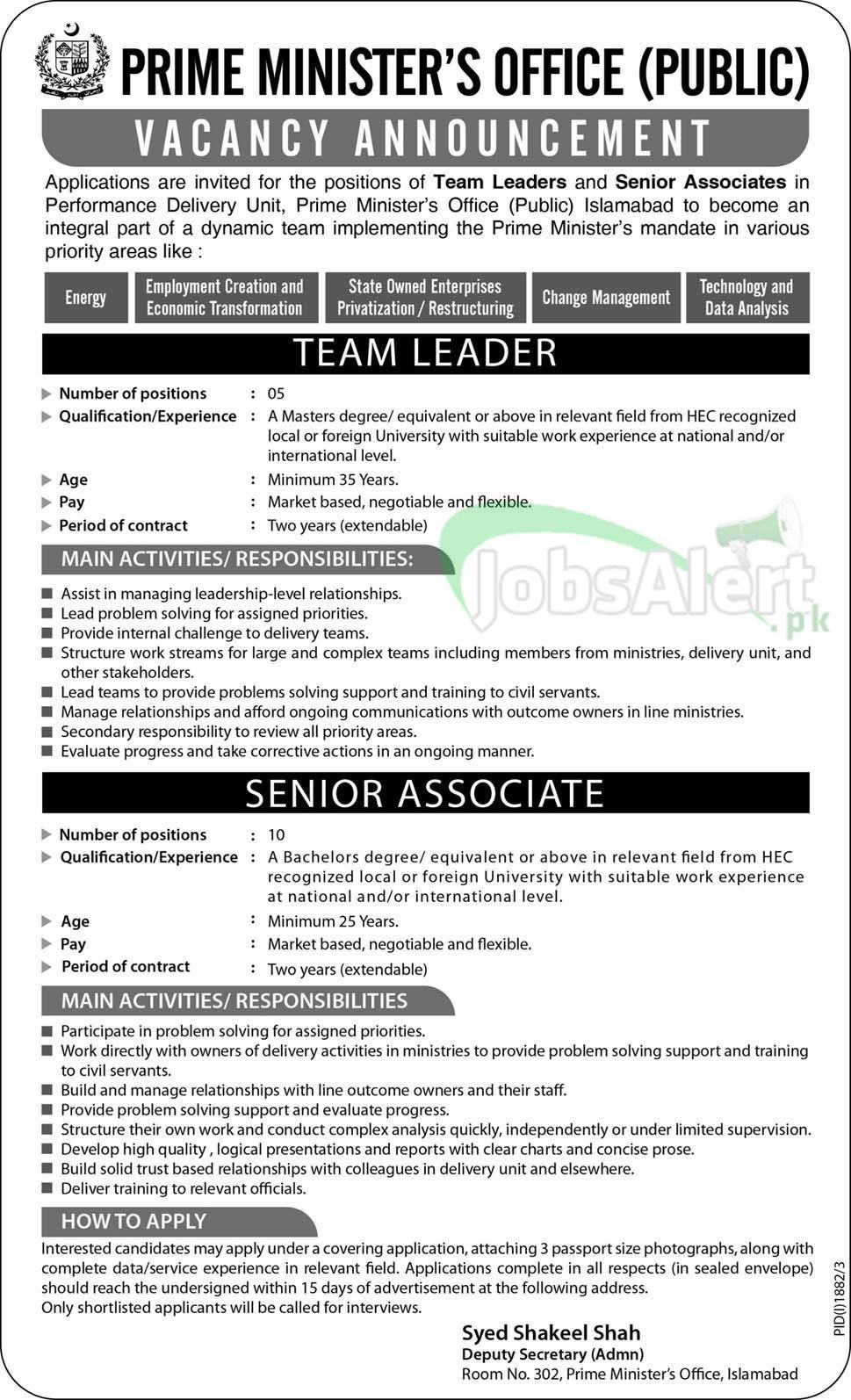 Senior Associates Jobs in Prime Minister's Office Islamabad