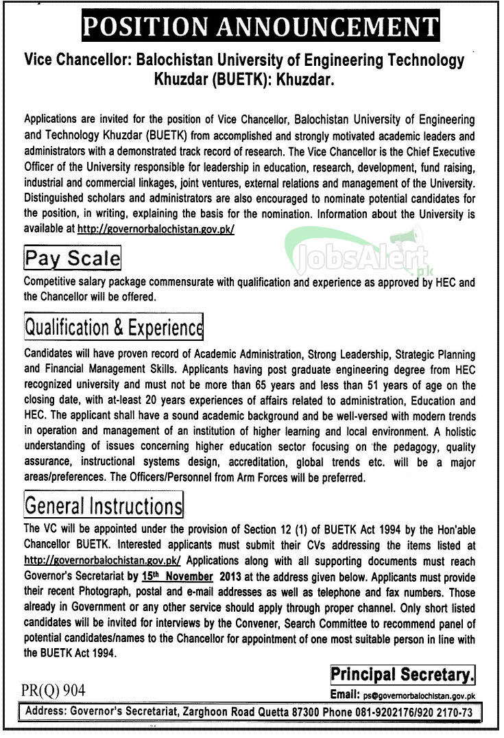 Vice Chancellor Jobs in Balochistan Uni of Engineering Tech