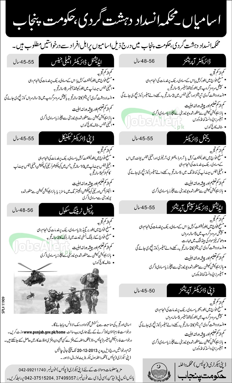 Anti Terrorism Force Govt of Punjab Jobs for Director Operations