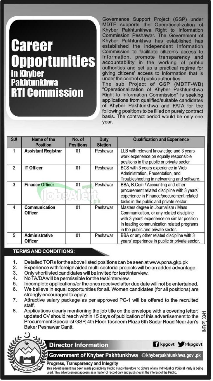Assistant Registrar & IT Officer Jobs in Khyber Pakhtunkhwa RTI