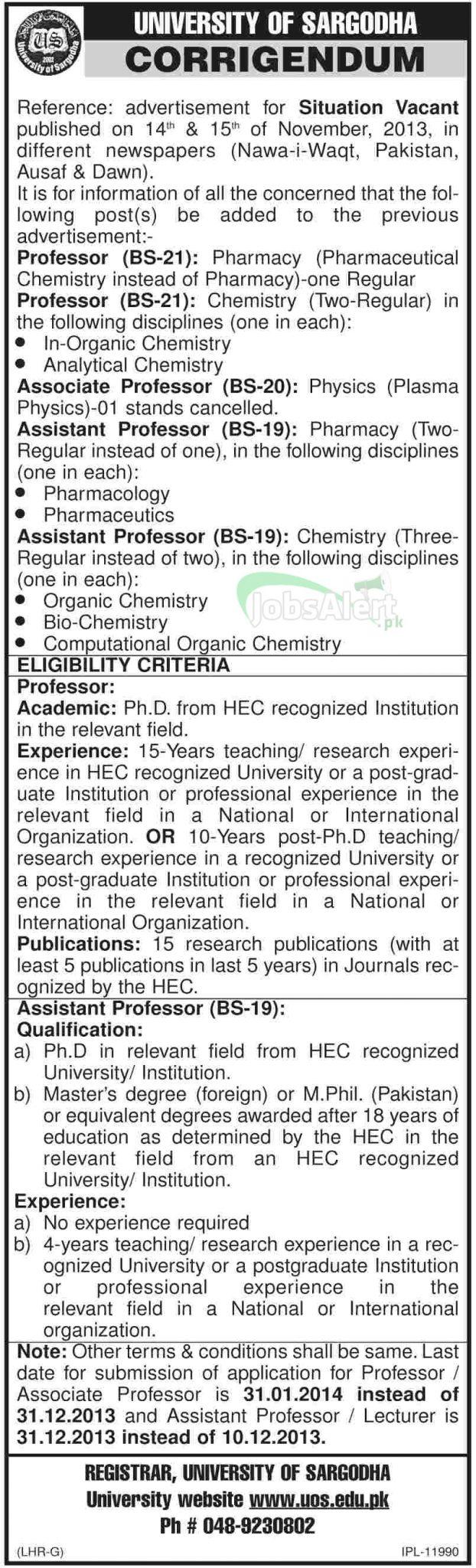 Associate & Assistant Professor Jobs in University of Sargodha