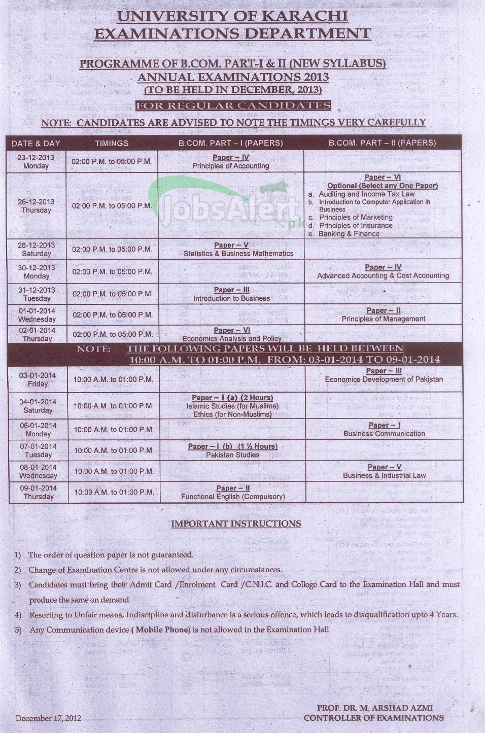 B.Com Part I & II University of Karachi Annual Examination Schedule 2013-2014