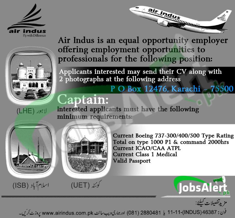 Captain Jobs in Air Indus Flight Karachi