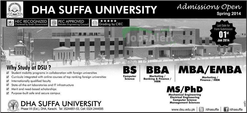 DHA Suffa University Karachi BBA  MBA admissions open 2014