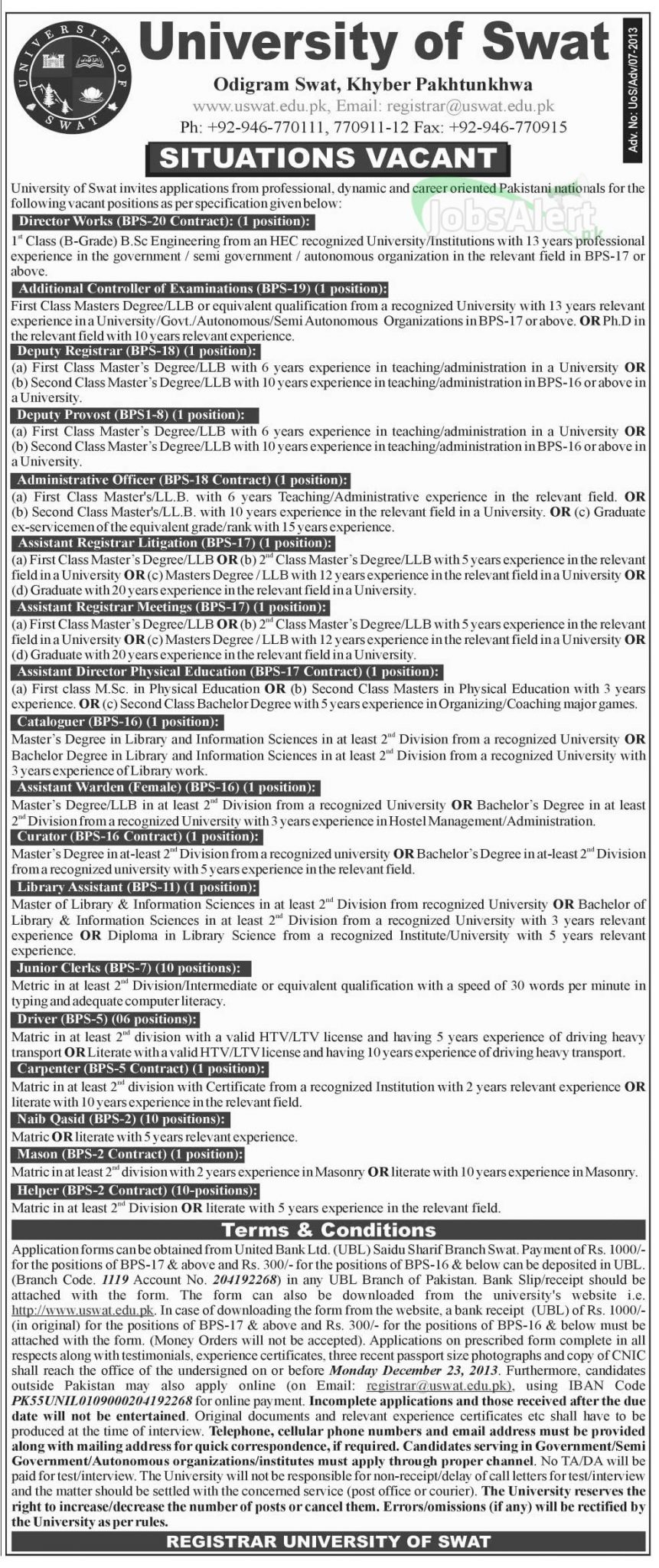 Director & Deputy Registrar Jobs in University of Swat KPK