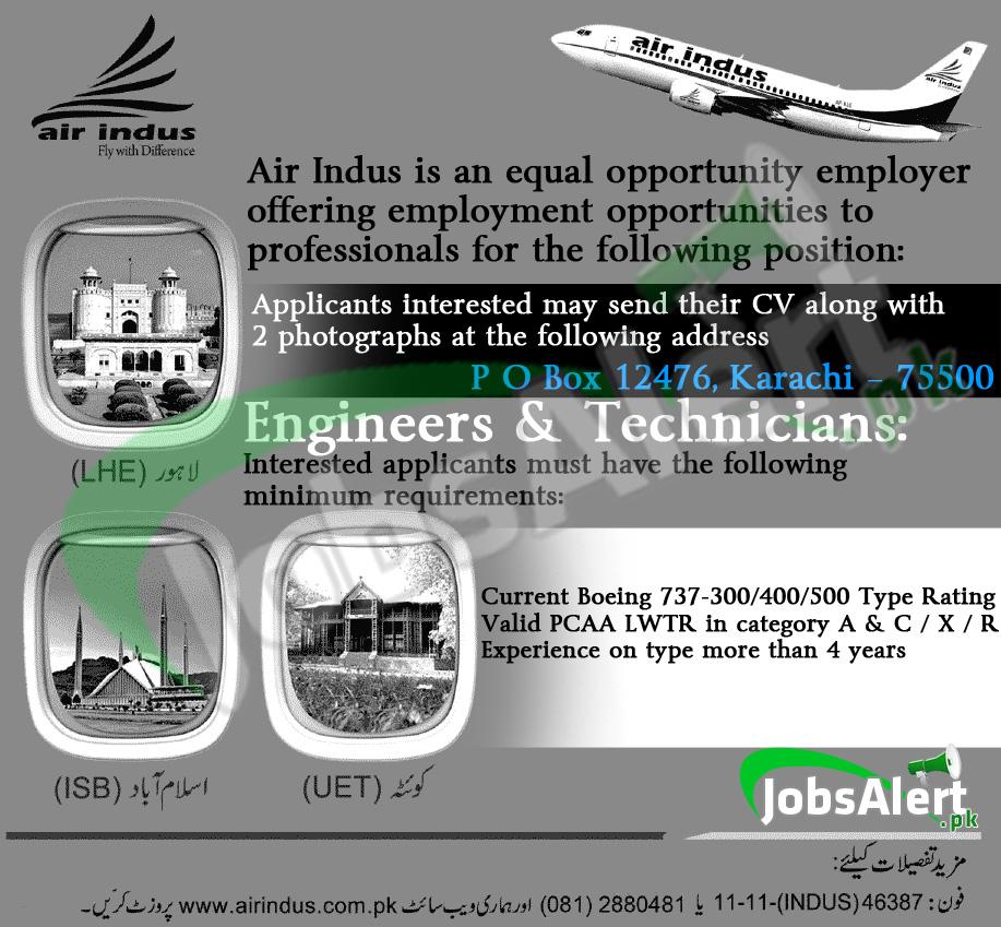 Engineers & Technicians Jobs in Air Indus Flight Karachi