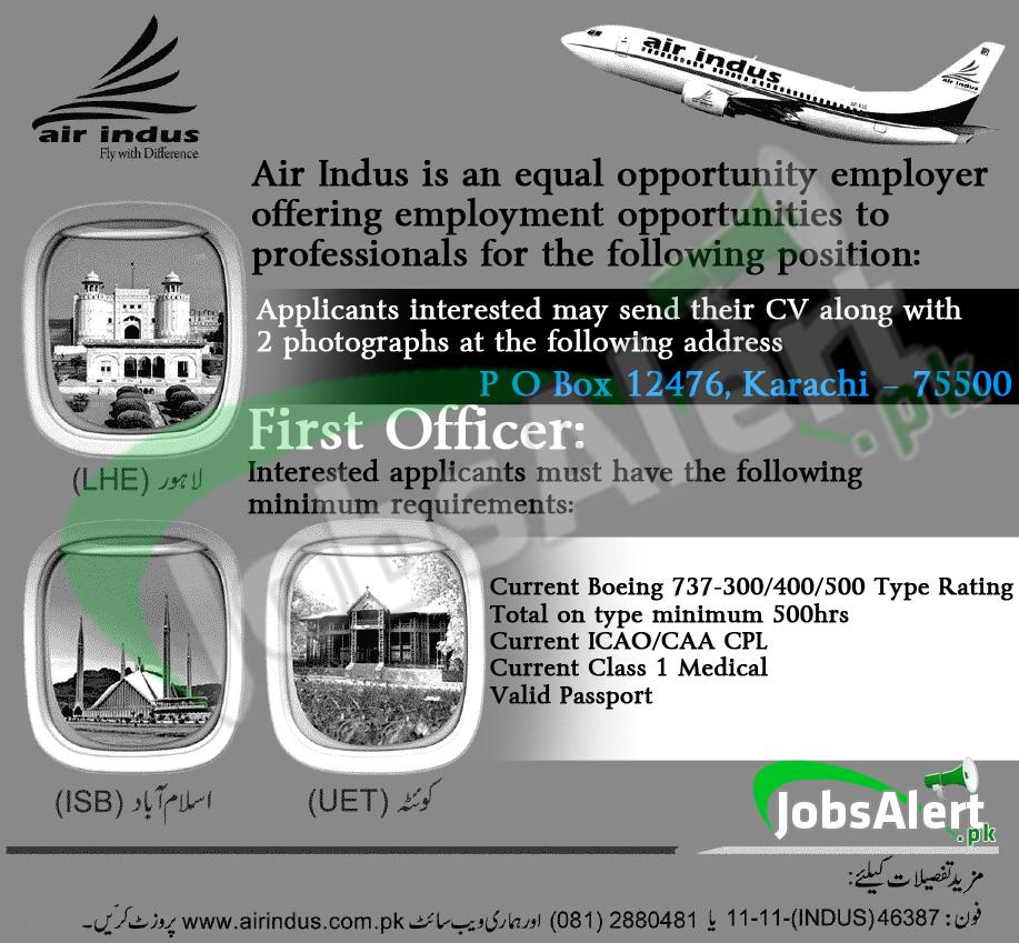 First Officer Jobs in Air Indus Flight Karachi