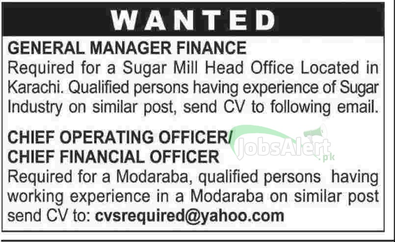 General Manager Finance Jobs in Sugar Mill Head Office Karachi