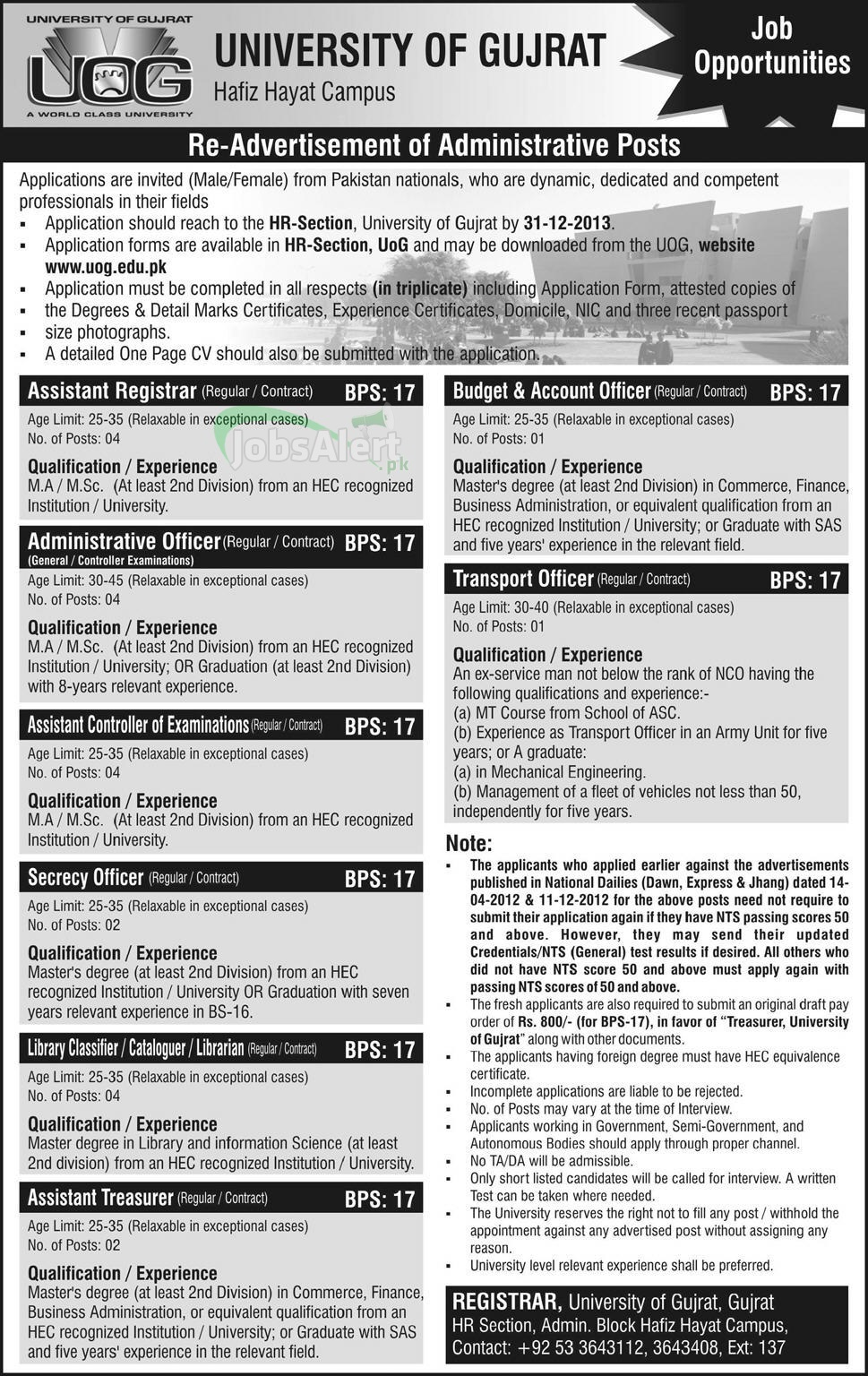 Jobs for Assistant Registrar & Admin Officer in University of Gujrat (UOG)