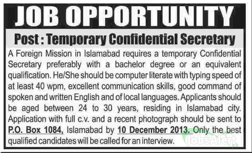 Jobs for Confidential Secretary in Islamabad