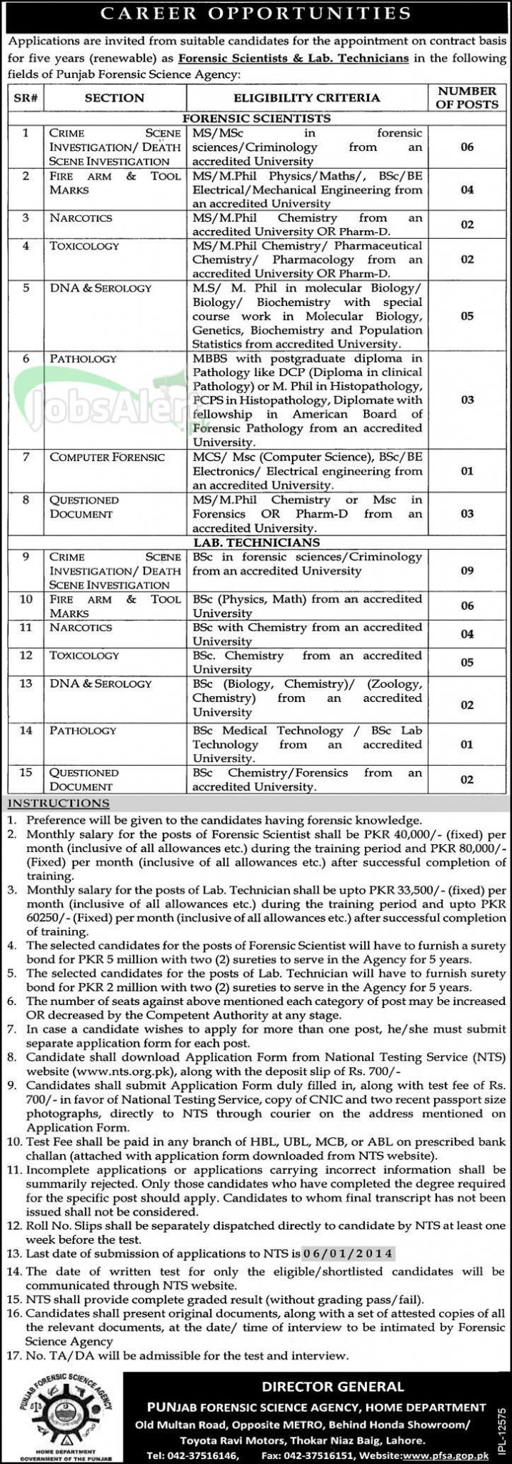 Jobs for Crime Investigation in Punjab Forensic Science Agency Lahore