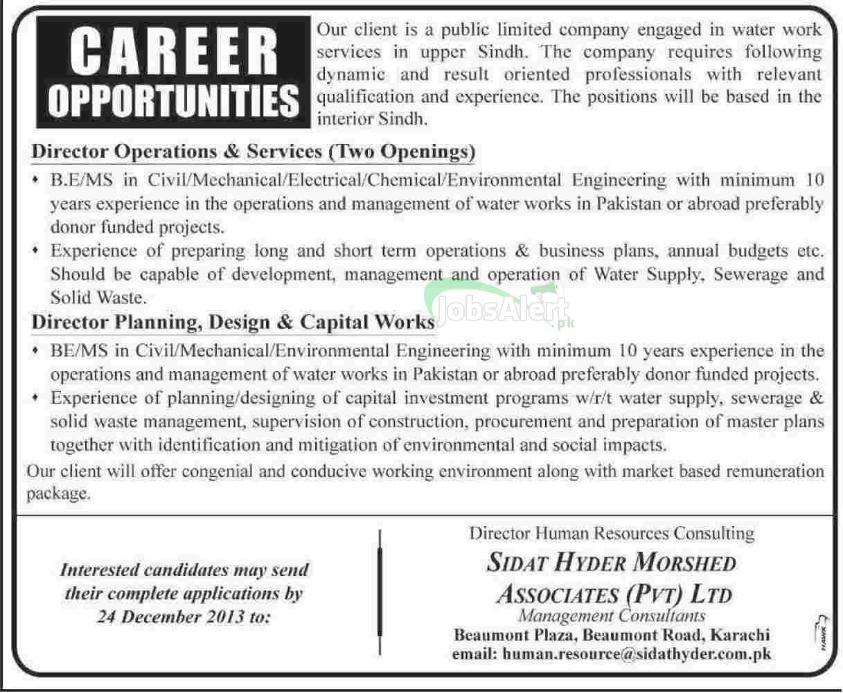 Jobs for Director Operation in Sidat Hayer Morshed Karachi