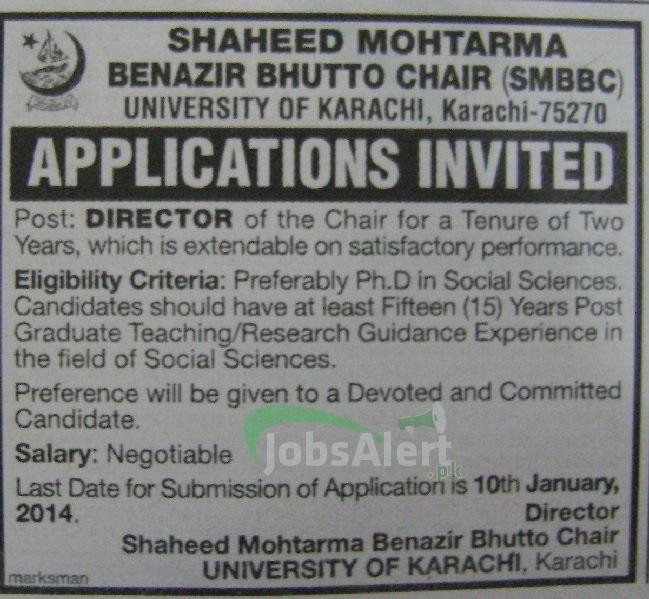 Jobs for Director in SMBBC University of Karachi