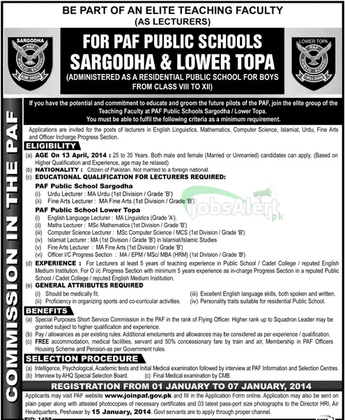 Jobs for Lecturer in PAF Public School Sargodha