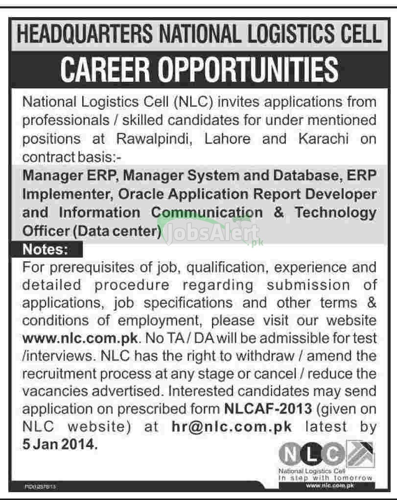 Jobs for Manager ERP & Data Center in National Logistics Cell Lahore
