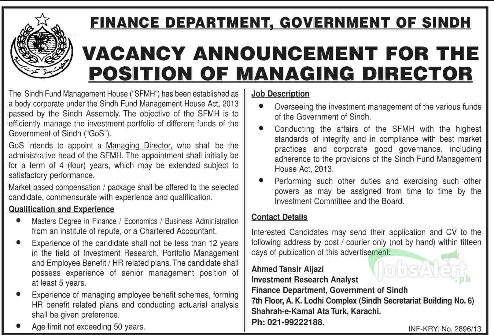 Jobs for Managing Director in Finance Department Government of Sindh