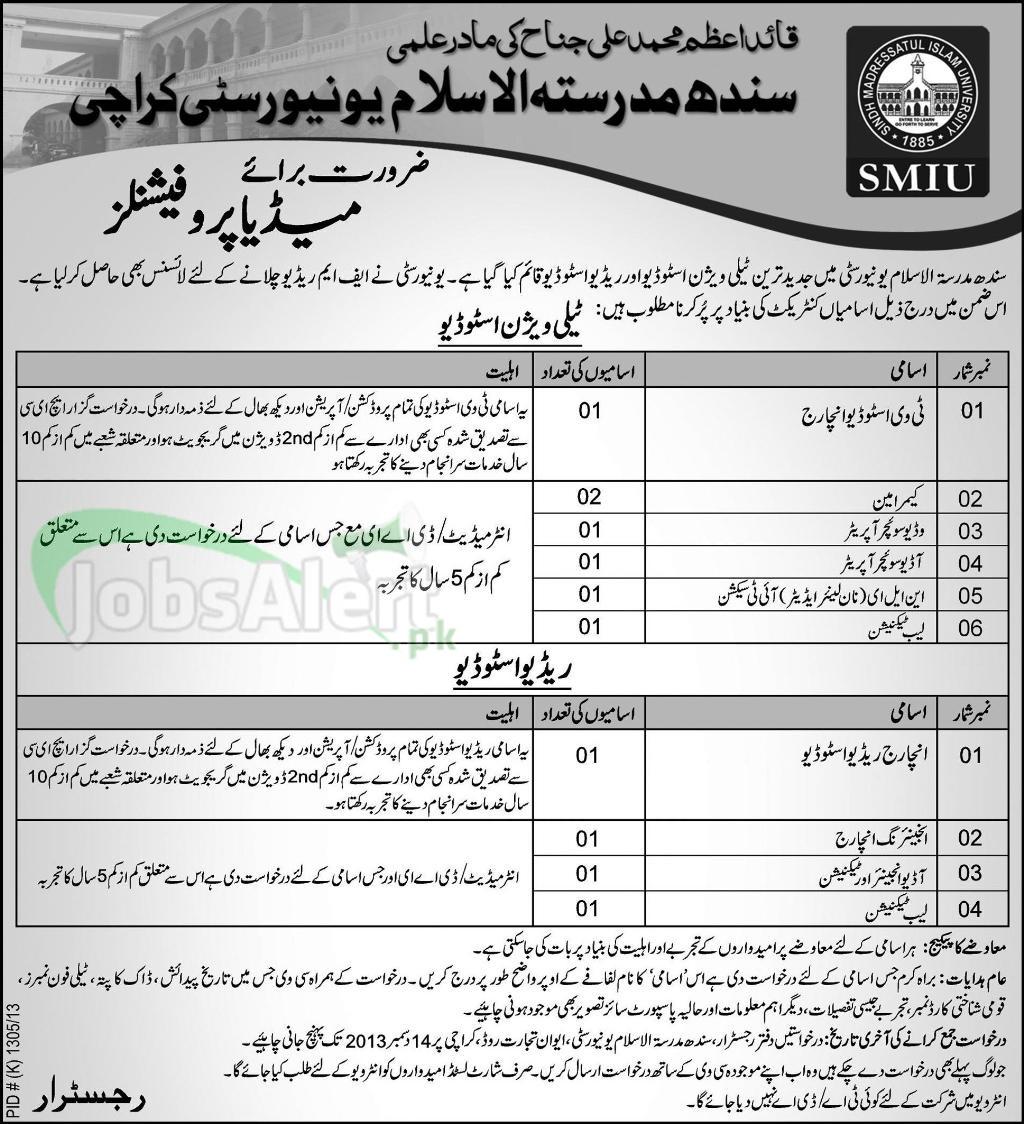 Jobs for Media Professional in Sindh Madressatul Islam University Karachi